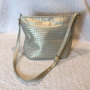 Ganson gold vegan leather bag w woven design